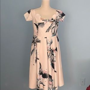 ASOS Scalloped MIDI Watercolor Dress